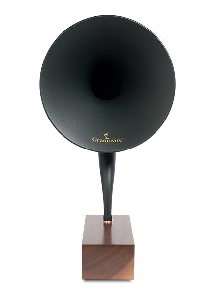 Bluetooth Gramophone 2.0 – Vintage Wireless Speaker, iPhone/Android Compatible | Product – Black Steel Horn, Wood-Base, Front-View