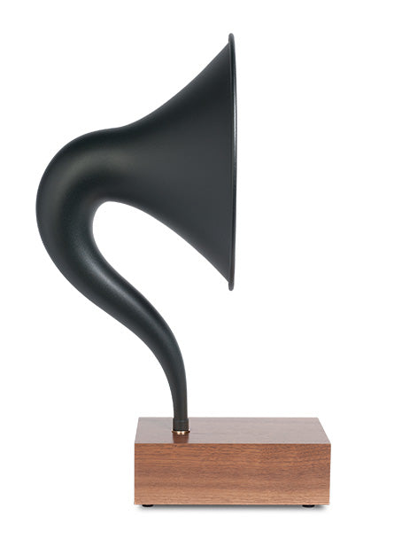 Bluetooth Gramophone 2.0 – Vintage Wireless Speaker, iPhone/Android Compatible | Product – Black Steel Horn, Wood-Base, Profile-View