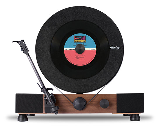Floating Record Vertical Turntable – Vertical Record Player with Built-in Speakers | Feature – 33-⅓ OR 45-RPM Belt
