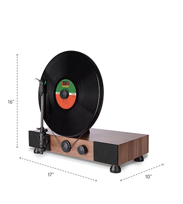 Floating Record Vertical Turntable – Vertical Record Player with Built-in Speakers | Specs, Dimensions – Angled-View, Black Vinyl