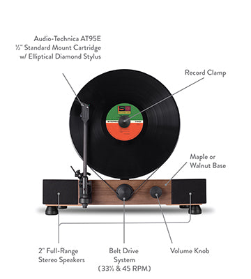 Floating Record Vertical Turntable – Vertical Record Player with Built-in Speakers | Specs, Parts – Front-View, Black Vinyl