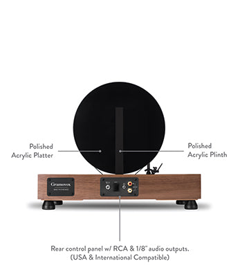 Floating Record Vertical Turntable – Vertical Record Player with Built-in Speakers | Specs, Parts – Rear-View, Black Vinyl