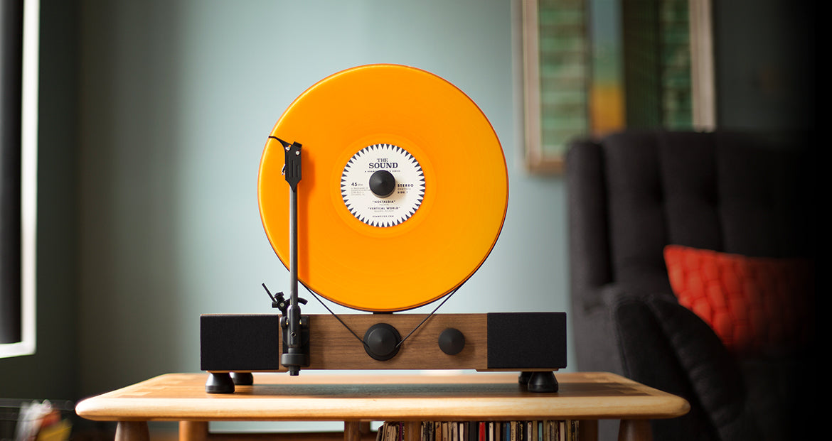 Floating Record Vertical Turntable – Vertical Record Player with Built-in Speakers | Living-Room – Walnut-Wood, Orange Vinyl