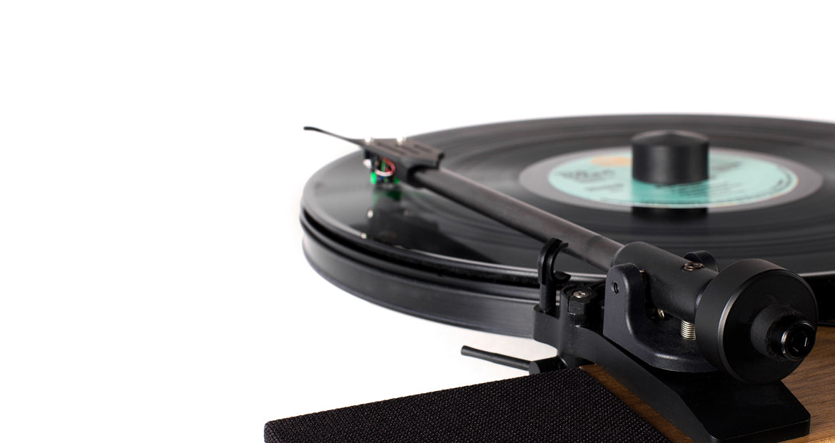 Floating Record Vertical Turntable – Vertical Record Player with Built-in Speakers | Vinyl Tonearm Close-up, Black Vinyl