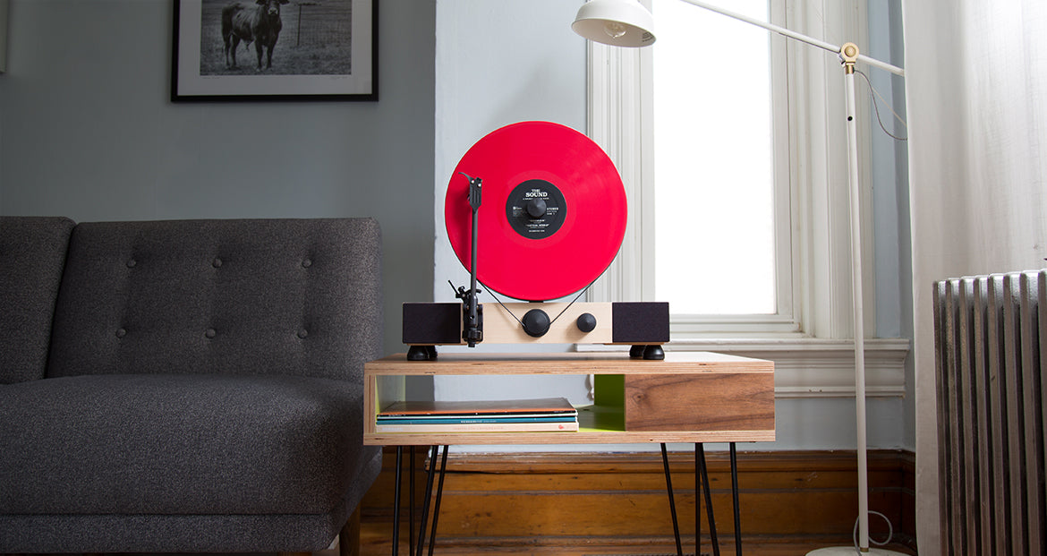 Floating Record Vertical Turntable – Vertical Record Player with Built-in Speakers | Living-Room – Maple-Wood, Red Vinyl