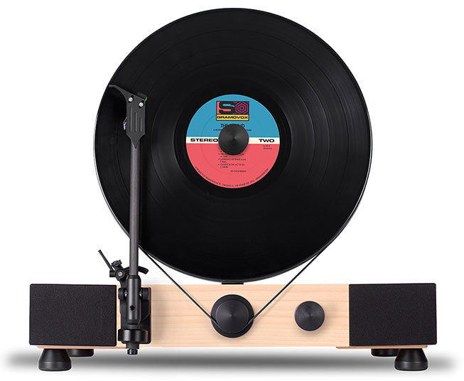 Floating Record Vertical Turntable – Vertical Record Player with Built-in Speakers | Learn-More – Walnut-Wood, Black Vinyl