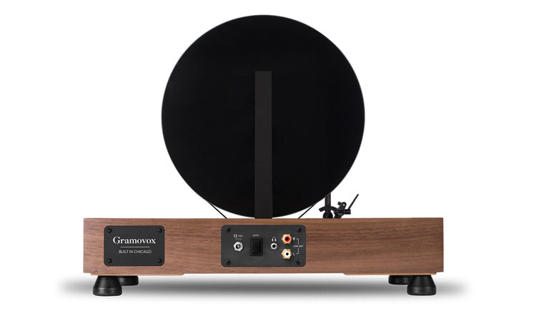 Floating Record Vertical Turntable – Vertical Record Player with Built-in Speakers | Product Feature – Walnut, Rear-View, Black Vinyl
