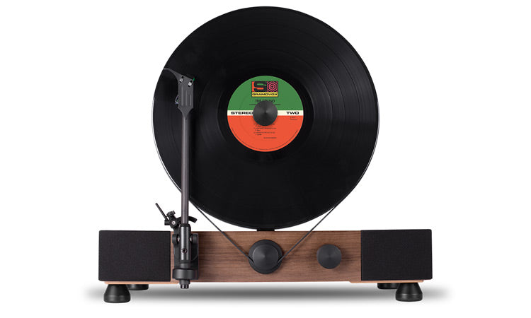 Floating Record Vertical Turntable – Vertical Record Player with Built-in Speakers | Product Feature – Walnut, Front-View, Black Vinyl