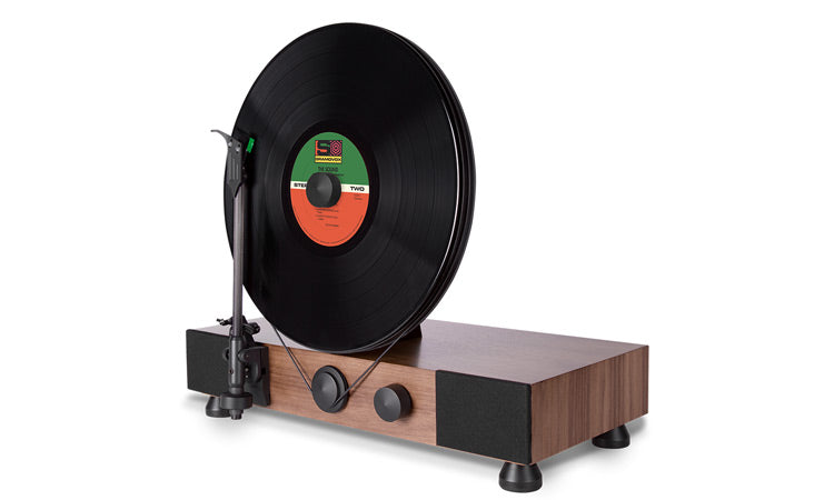Floating Record Vertical Turntable – Vertical Record Player with Built-in Speakers | Product Feature – Walnut, Angled-View, Black Vinyl