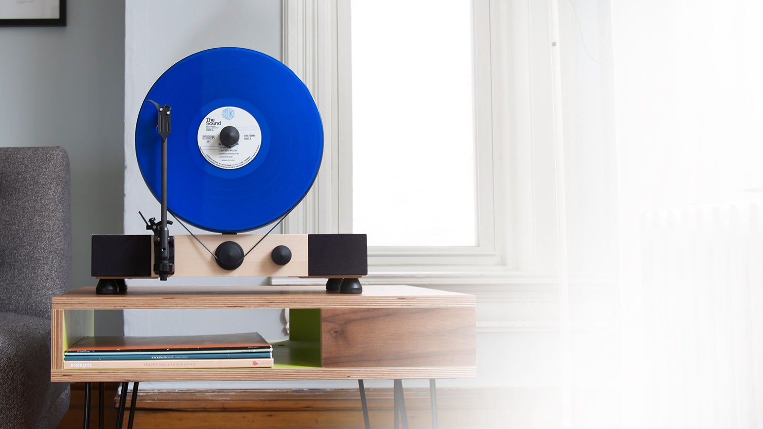 Floating Record Vertical Turntable – Vertical Record Player with Built-in Speakers | Header – Maple-Wood, Black Vinyl