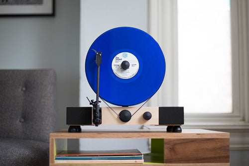 Gramovox Floating Record Vertical Turntable | Maple | Blue Vinyl Record LP