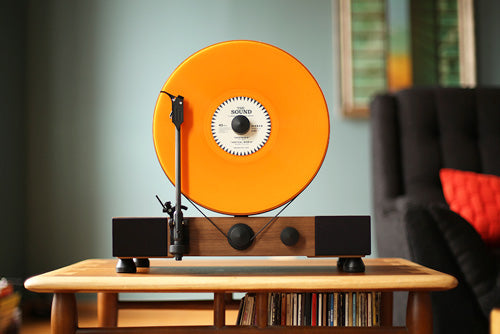 Gramovox Floating Record Vertical Turntable | Walnut | Orange Vinyl Record LP