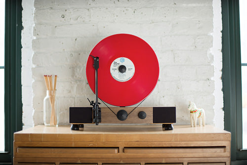 Gramovox Floating Record Vertical Turntable | Walnut | Red Vinyl Record LP