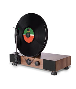 Gramovox Floating Record Vertical Turntable Walnut - Angle