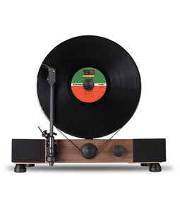 Gramovox Floating Record Vertical Turntable Walnut - Front