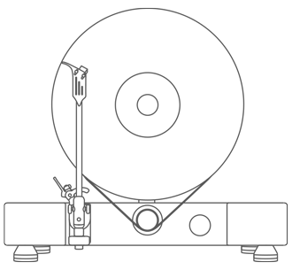 Floating Record Vertical Turntable – Vertical Record Player with Built-in Speakers | About Page – Drawing, Sketch