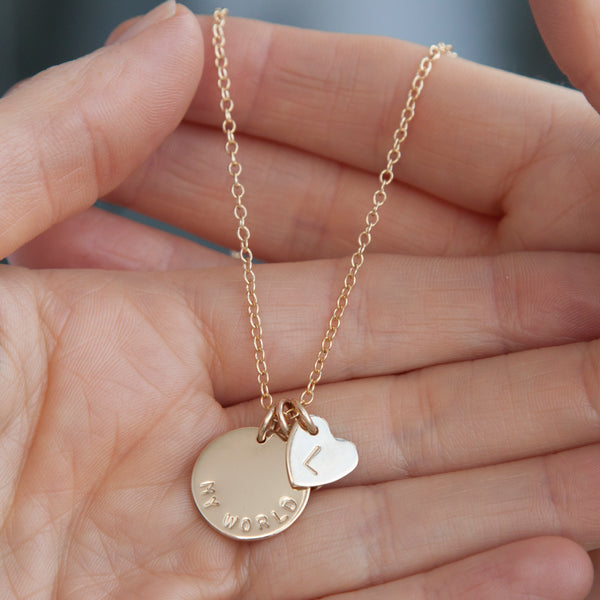 Gold name necklace with heart