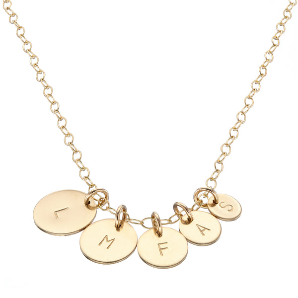 Gold Family necklace with childrens initials