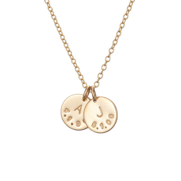 gold initial necklace with childrens birthdate