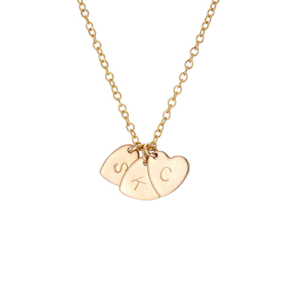 gold personalised heart charm initial necklace
