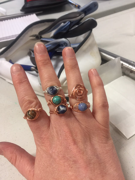 Wire wrapped ring making class