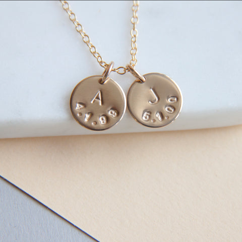 personalised necklace with date and initial