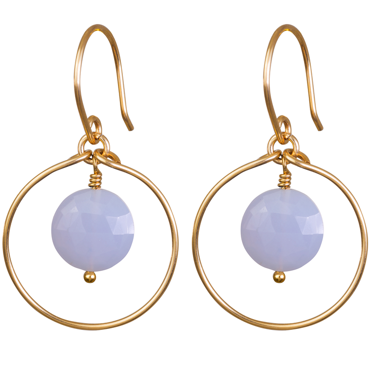 Gold Blue Chalcedony Saturn Earrings