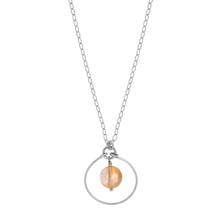 Silver Halo Necklace with Citrine