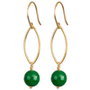 Green Onyx Drop Earrings in Gold