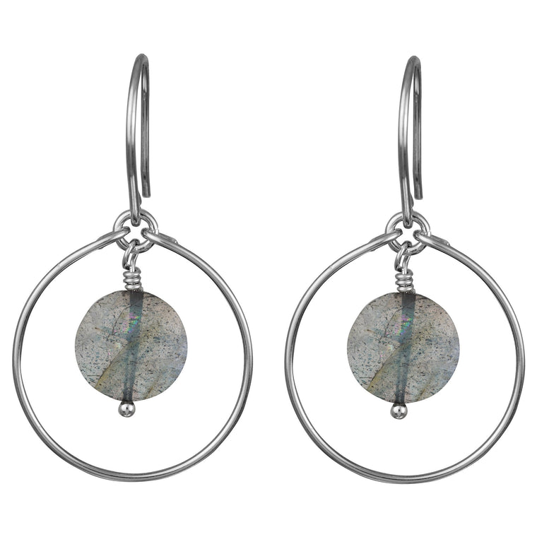 Labradorite 'Saturn' Earrings in Silver