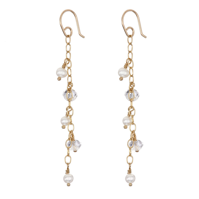 Long Pearl and Crystal Earrings