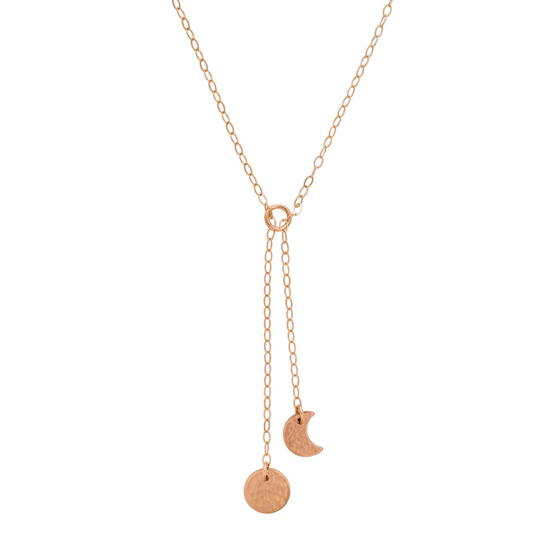 Moon Phase Y Necklace Gold