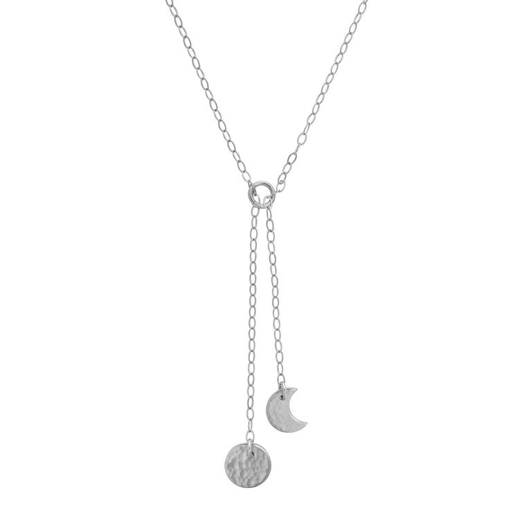 Moon Phase Y Necklace Silver