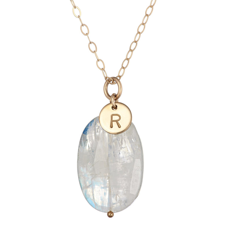 Moonstone Necklace with Initial Gold