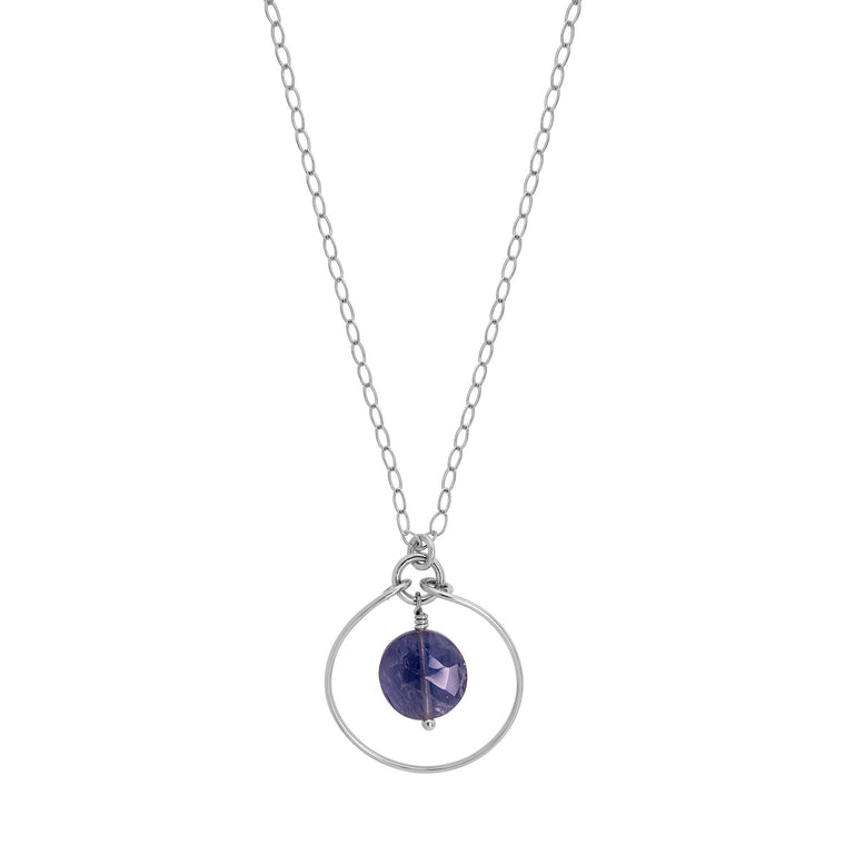 Silver Halo Necklace with Iolite