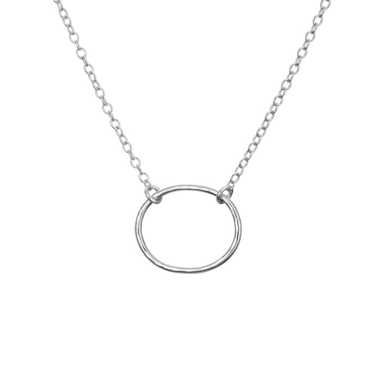 Silver Oval Karma Necklace