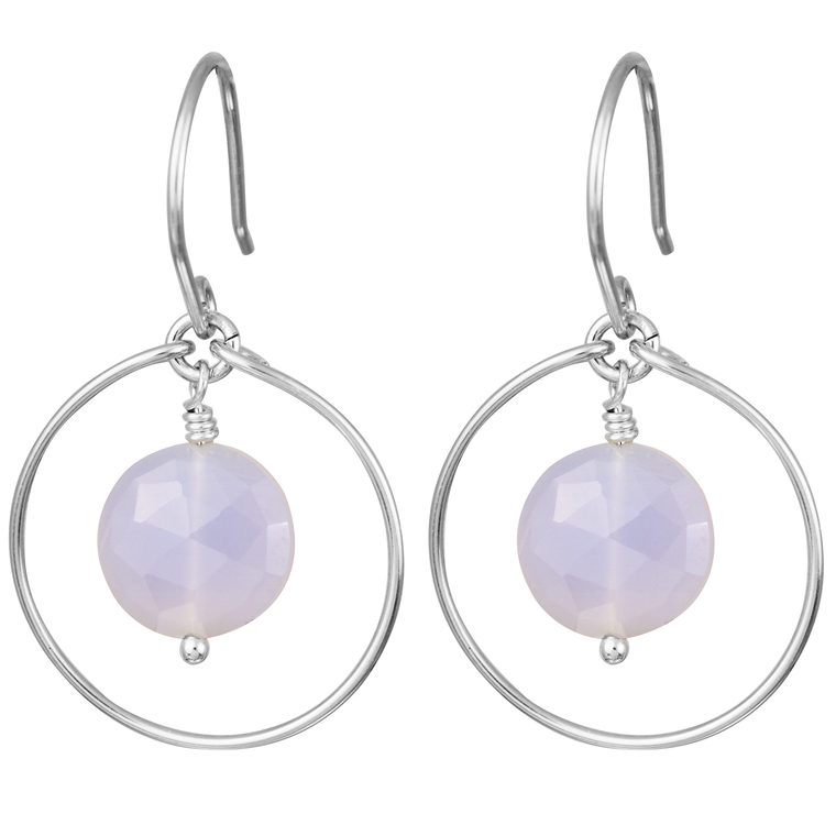 Blue Chalcedony 'Saturn' Earrings in Silver
