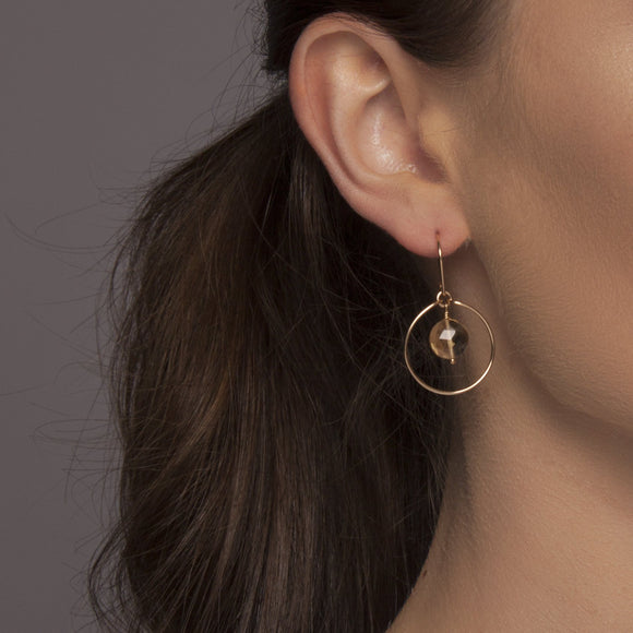 Citrine 'Saturn' Earrings in Gold
