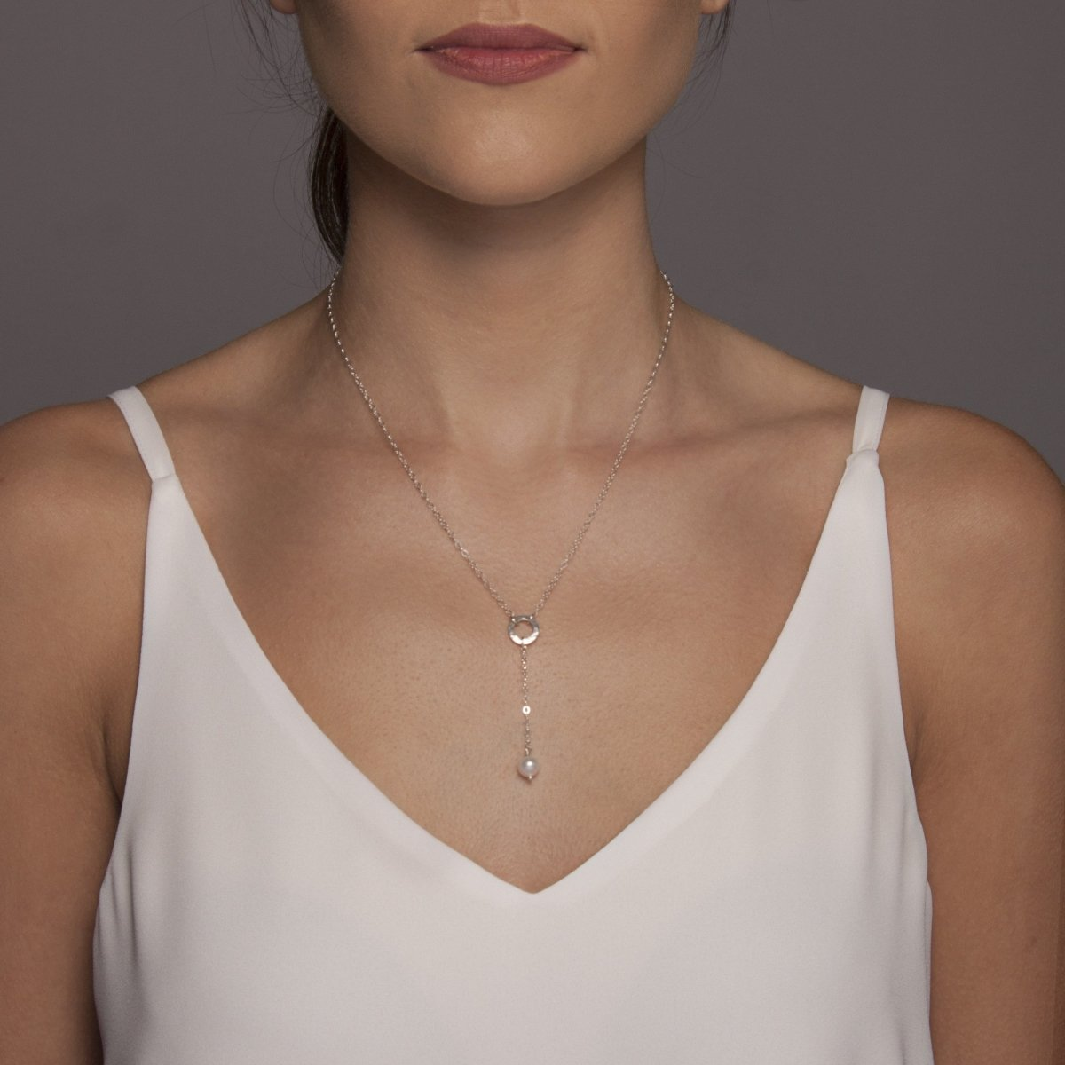 Freshwater Pearl Drop Necklace Silver
