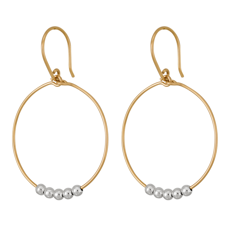 Rolled Gold Hoops with Silver Beads