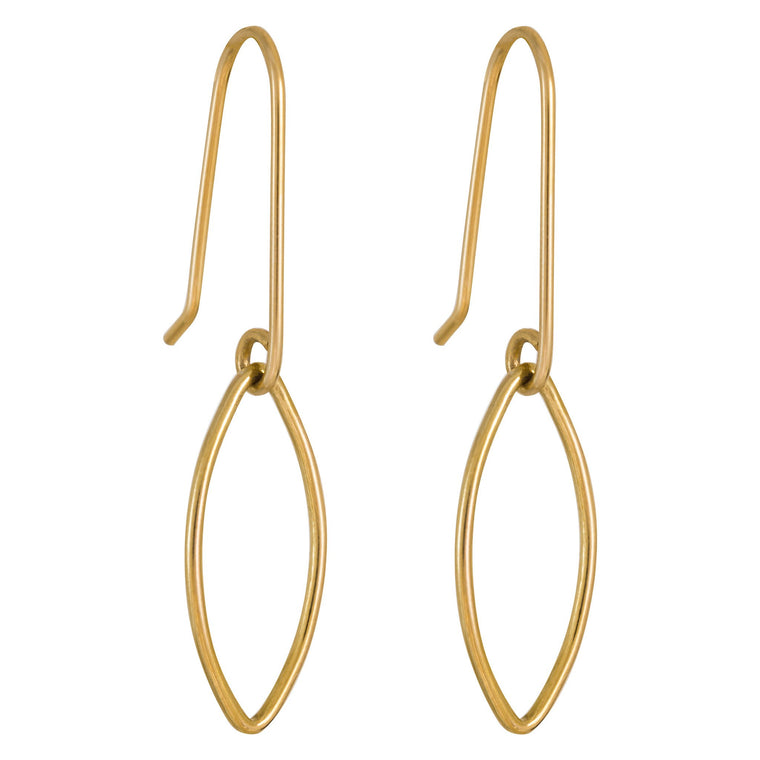 Rolled Gold Oval Drop Earrings Small