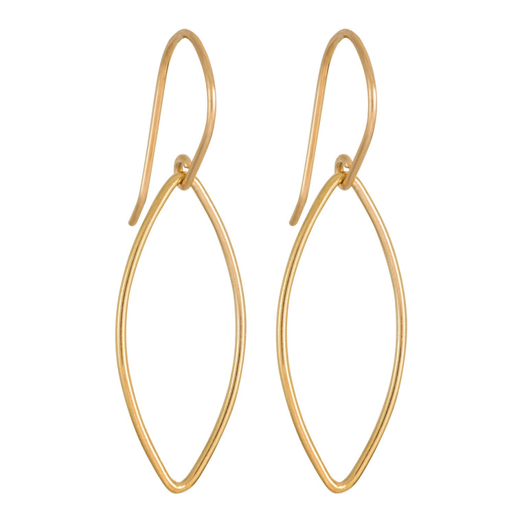 Rolled Gold Oval Drop Earrings Medium