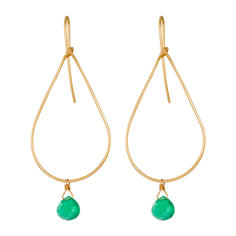 Gold Teardrop Hoops with Green Onyx