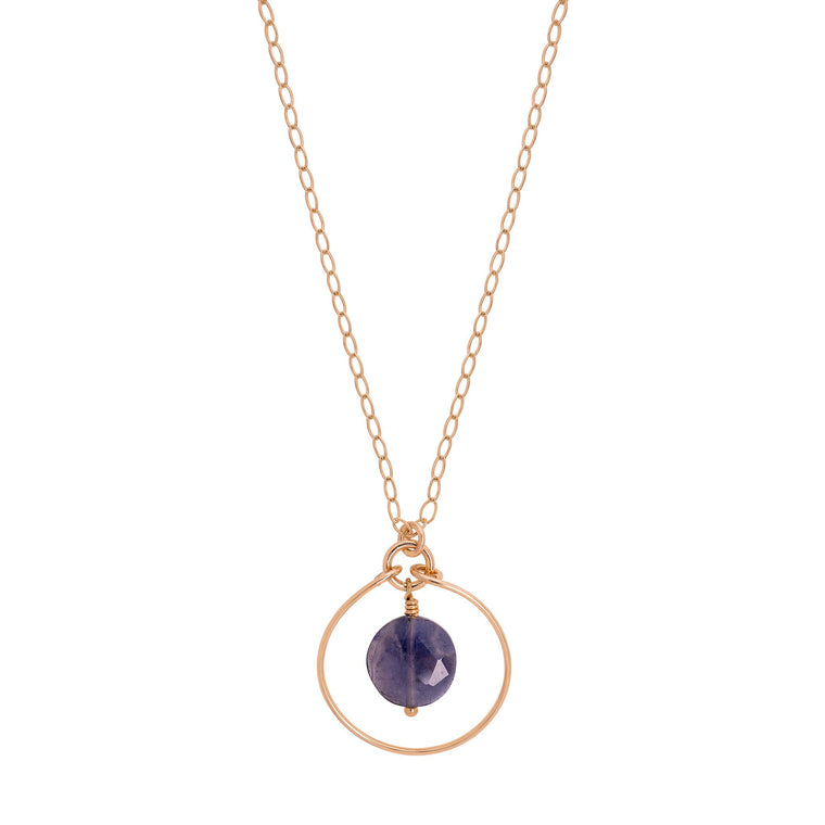 Gold Halo Necklace with Iolite