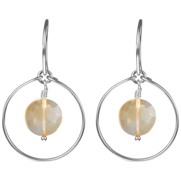 Citrine 'Saturn' Earrings in Silver