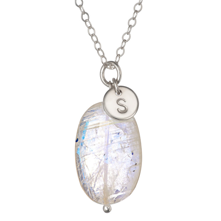 Silver Rainbow Moonstone Pendant and Initial