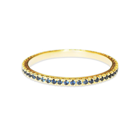 Blue French Facet Eternity Ring
