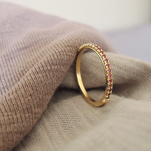 Pink French Facet Half Eternity Ring