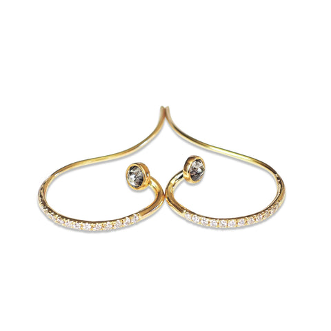 Diamond Semi Hoop Earrings