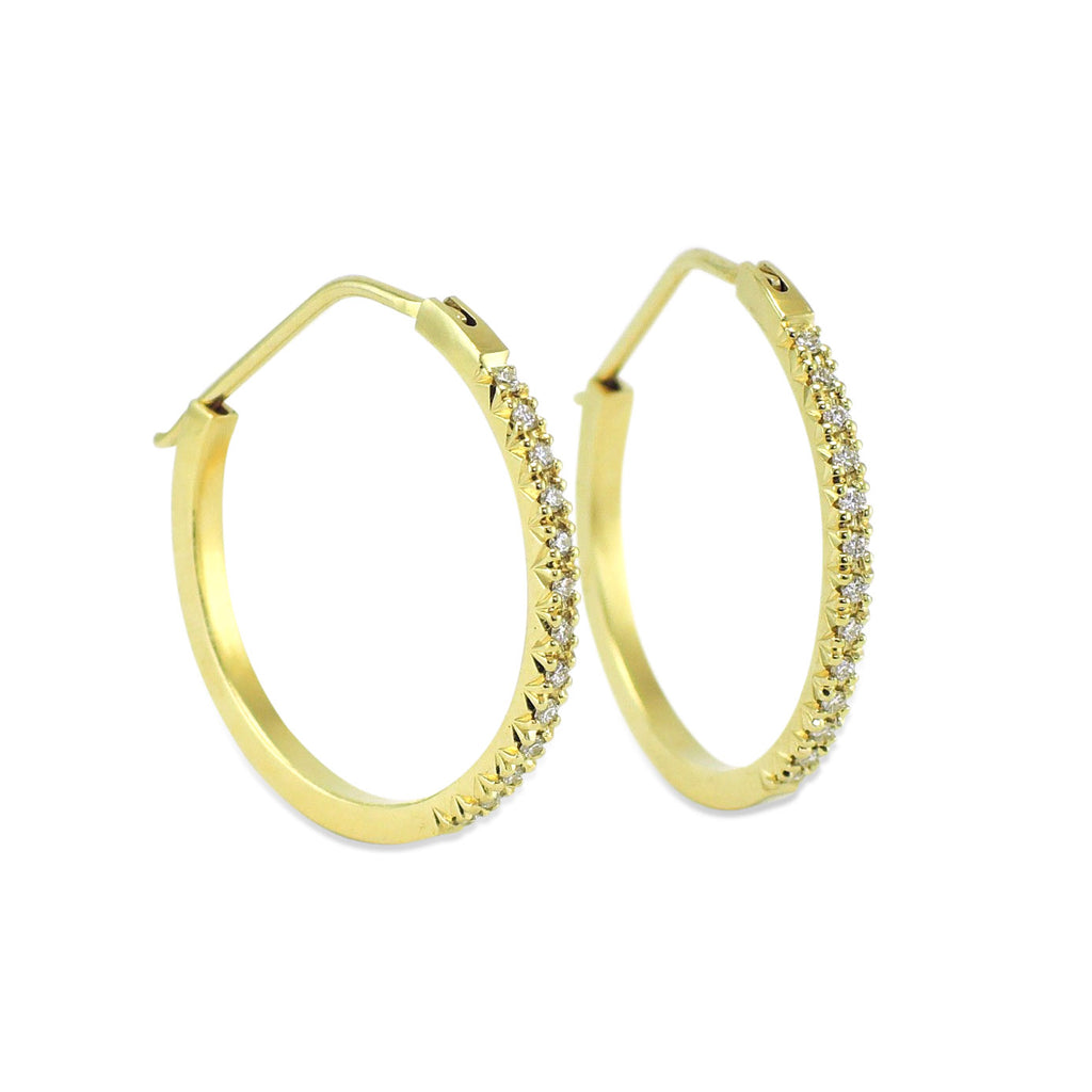 Diamond French Facet Hoops